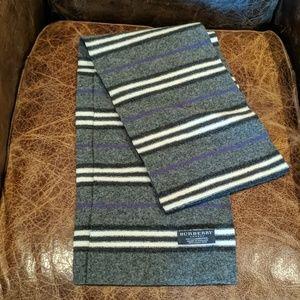 Burberry Dk Gray, Black, White & Purple Wool Scarf